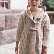 女童休闲带帽棒针编织大衣