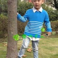 云棉儿童条纹衣 棒针编织男孩毛衣