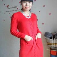 极简大红色手编羊绒长款毛衣