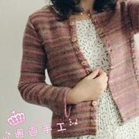 简洁干练棒针编织女士段染开衫