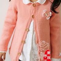粉嫩女童棒针编织羊毛开衫
