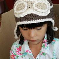 飞行员姐弟帽 钩针编织儿童护耳帽