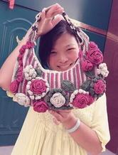 女士钩针编织玫瑰花单肩包