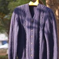 棒针编织男士羊绒外套毛衣