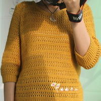 春秋宽松长袖镂空棒针编织潮衫