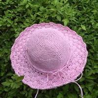 棉草拉菲钩针编织粉色童帽