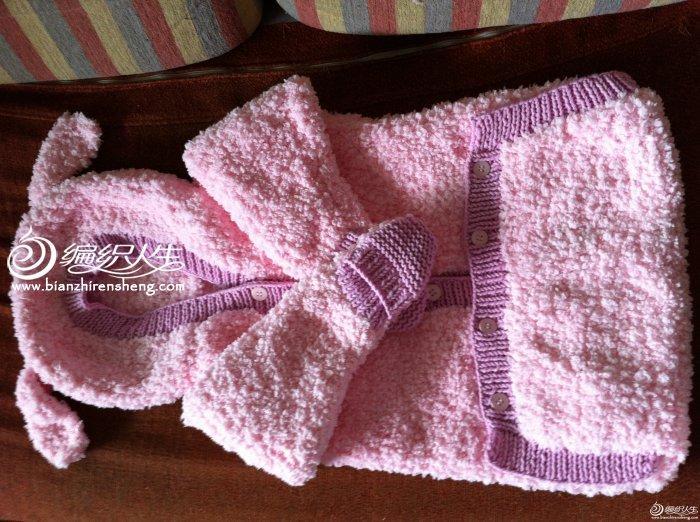 长绒线棒针编织兔装婴儿睡袋