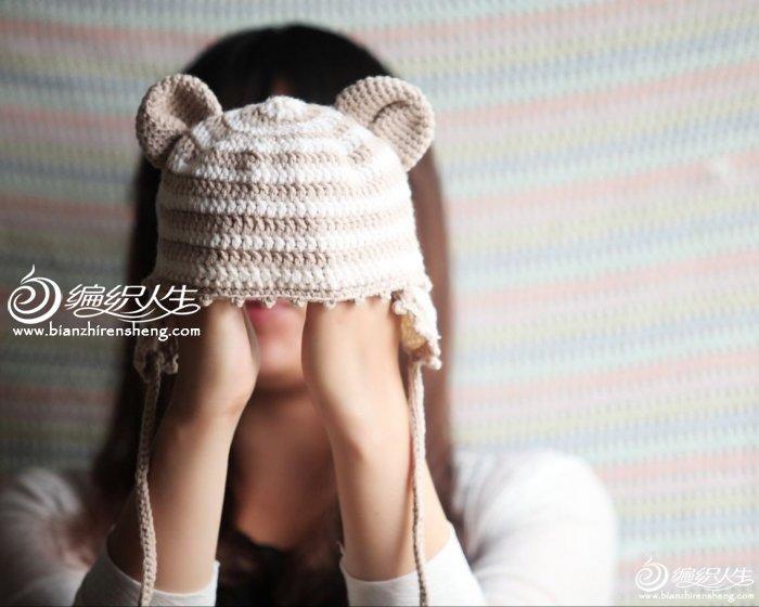 0-1岁泰迪熊云宝宝钩编护耳帽