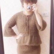甜美淑女针织套裙 棒针毛衣外套及裹身裙