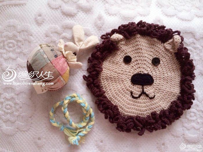 编织教程 宝宝玩具 钩针编织狮子飞盘    娃很喜欢我做的玩具,我也是