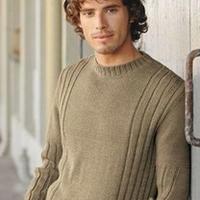 竖纹简洁棒针编织男士圆领毛衣