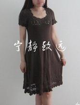 纯棉短袖修身棒针编织连衣裙