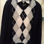 菱形格男式英伦风棒针编织毛衣