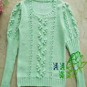 云棉奶油绿棒针编织公主套头衫