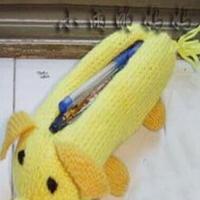 可爱棒针编织玉米猪笔袋