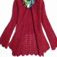 红色双层花钩针编织开衫外套