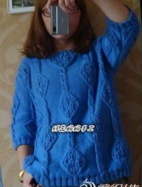 四叶草宽松七分袖棒针编织毛衣