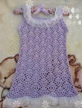 女童蕾丝边钩针编织紫色背心裙