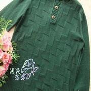 男式棒针编织扣领羊绒衫