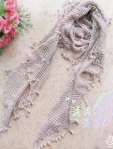羊绒流苏钩针编织围巾