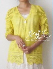 明黄蕾丝棒针编织女士开衫VK款