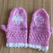 粉色钩针编织连指手套