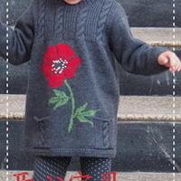 简洁麻花绣花棒针编织女童长毛衣