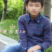 男童段染棒针编织圆领套衫