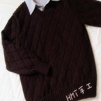 男士小V领棒针编织菱纹羊绒毛衣