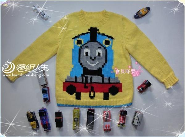 托马斯小火车男童棒针编织毛衣
