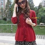 锈红系带棒针编织女士羊绒开衫