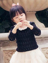 小小黑藤 钩针编织女童长袖罩衫