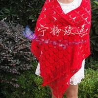 扇形菠萝钩针编织大红羊绒围披