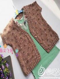 棉亮片棒针编织简单女童小开衫