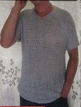 烟灰色男士小V领钩针编织短袖