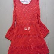 大红菱格棒针编织长袖连衣裙