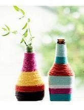 毛线DIY酒瓶变波西米亚风格花瓶