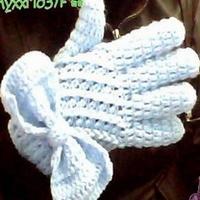蝴蝶结钩针编织分指手套