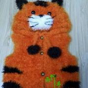 卡哇依棒针编织幼儿小老虎背心