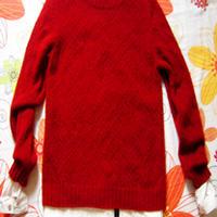 大圆领十字花棒针编织羊绒毛衣