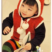 可爱钩针编织儿童小熊带帽马甲