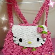 草莓kitty猫钩针编织儿童背包