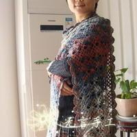 蜘蛛花钩针编织毛蕾丝长围巾