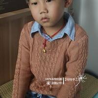 男童棒针编织蕾丝棉麻花毛衣
