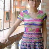 段染金丝棉钩编女士短袖裙衣