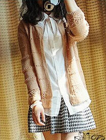 双层门襟底边棒针编织蕾丝开衫