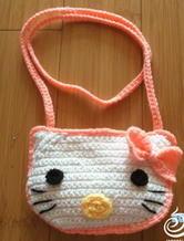 可爱钩针编织KT猫儿童小挎包
