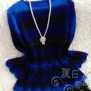你的蓝眼睛 长段染棒针羊毛长袖连衣裙