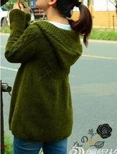 绿草依依 棒针编织连帽休闲开衫