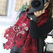 山菊花菠萝钩织结合围巾披肩